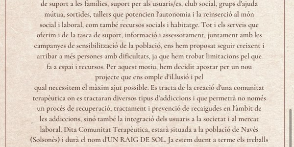 """INFORMACIÓ COMUNITAT TERAPÈUTICA """" Un Raig de Sol"""""""